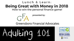 Lunch & Learn: Being Great with Money in 2018 @ Action Greensboro | Greensboro | North Carolina | United States
